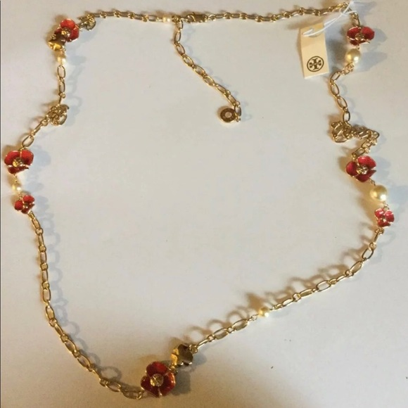 dae33cc1823b Tory Burch Fleur Rosary Necklace Red NWT! Auth